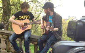 Jim and Kev rehearse in the sun