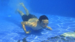 Kev attempts to recreate the cover of Nirvana's Nevermind